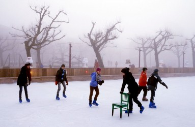 Skaters on ice