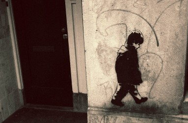 Graffiti of a boy in Amsterdam