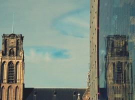 Laurenskerk reflection on Markthal windows