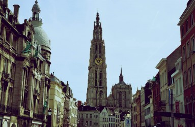 The Antwerp Cathedral seen from the streets