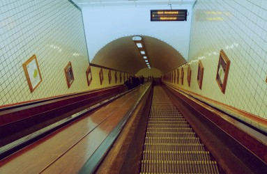 Wooden Escalators at Sint-Annatunnel